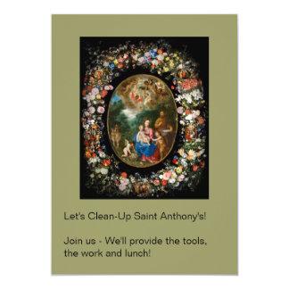 Cherubs Offer Gifts to Christ Child Card
