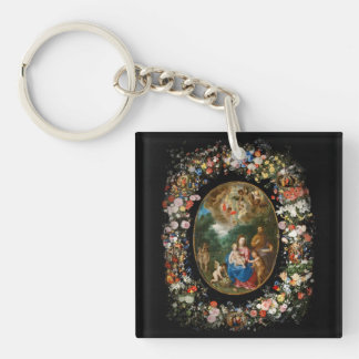Cherubs Offer Gifts to Christ Child Double-Sided Square Acrylic Keychain