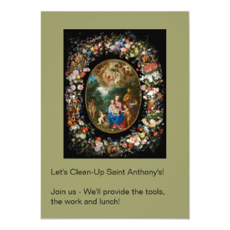 Cherubs Offer Gifts to Christ Child 5x7 Paper Invitation Card