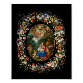 Cherubs Offer Gifts to Christ Child Poster