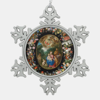 Cherubs Offer Gifts to Christ Child Snowflake Pewter Christmas Ornament
