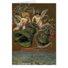 Cherubs Ringing in Christmas 1906 Card at Zazzle