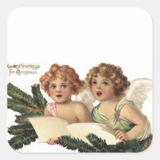 Cherubs Singing Carols Square Sticker