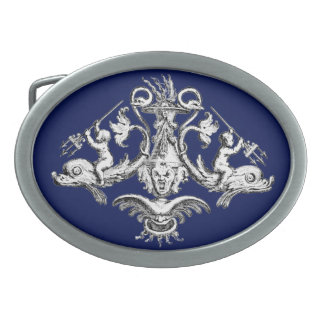 Cherubs with Tridents on Dolphins Belt Buckle