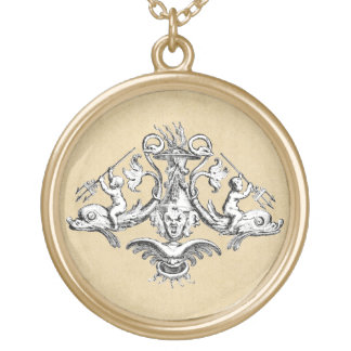 Cherubs with Tridents on Dolphins Gold Plated Necklace