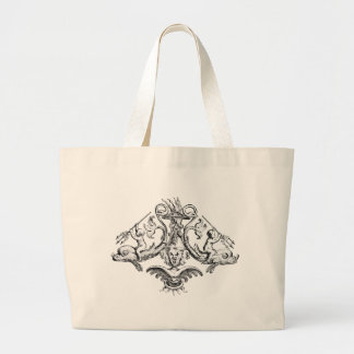 Cherubs with Tridents on Dolphins Large Tote Bag