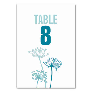 Chervil graphic flower wedding table numbers