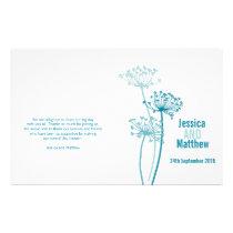 Chervil graphic modern flower Wedding Programme Flyer