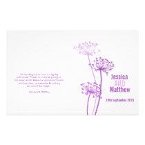 Chervil graphic purple flower Wedding Programme Flyer
