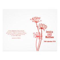Chervil graphic red flower Wedding Programme Flyer