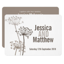 Chervil modern flower brown wedding invite
