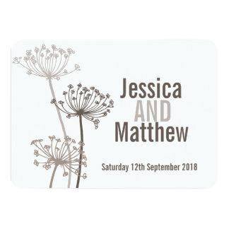 Chervil modern flower brown wedding invite