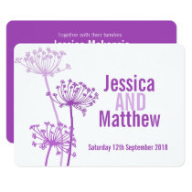 Chervil modern flower purple pink wedding invite