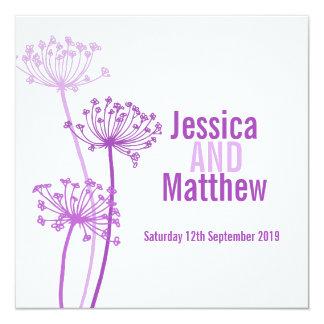 "Chervil modern flower purple pink wedding invite 5.25"" square invitation card"