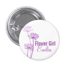 Chervil Modern Flower Purple Wedding Pin / Button at Zazzle