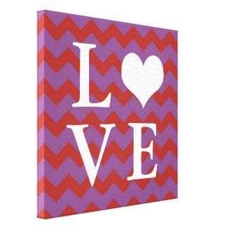 Chervon pattern red heart LOVE canvas wall art