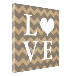Chervon pattern taupe heart LOVE canvas wall art
