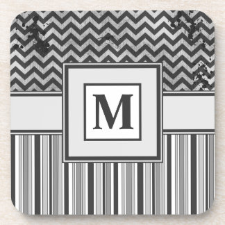 Chervron Zig Zags and Masculine Stripes in Greys Beverage Coaster
