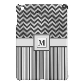 Chervron Zig Zags and Masculine Stripes in Greys Case For The iPad Mini
