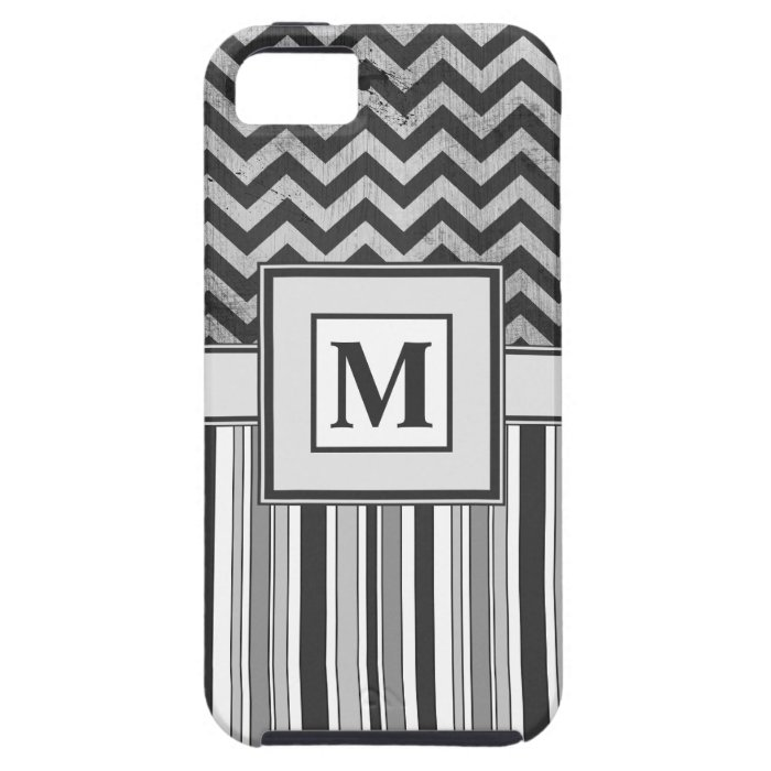 Chervron Zig Zags and Masculine Stripes in Greys iPhone SE/5/5s Case