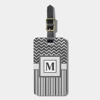 Chervron Zig Zags and Masculine Stripes in Greys Travel Bag Tags