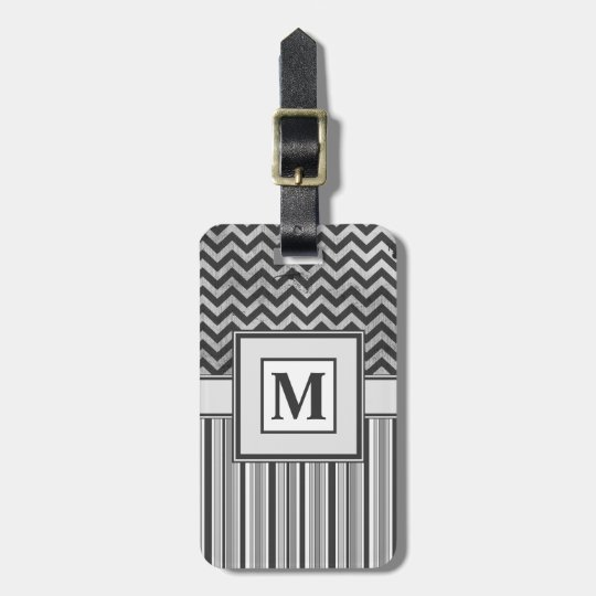 Chervron Zig Zags and Masculine Stripes in Greys Luggage Tag