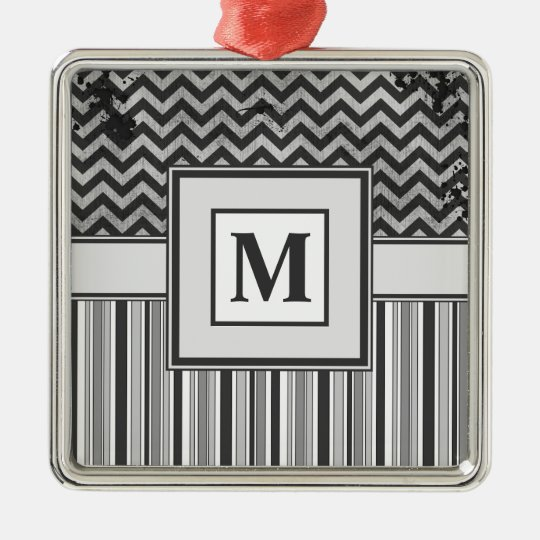 Chervron Zig Zags and Masculine Stripes in Greys Metal Ornament