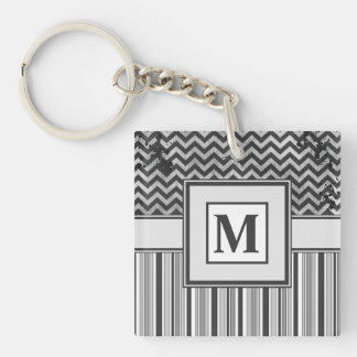 Chervron Zig Zags and Masculine Stripes in Greys Single-Sided Square Acrylic Keychain