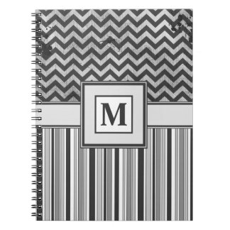 Chervron Zig Zags and Masculine Stripes in Greys Spiral Notebook