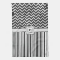 Chervron Zig Zags and Masculine Stripes in Greys Towel