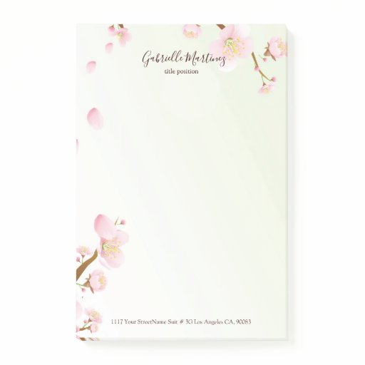 Chery blossom background post-it notes