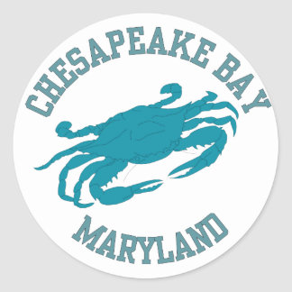 Chesapeake Bay  Blue Crab Classic Round Sticker