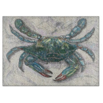 Chesapeake Bay Blue Crab Glass Cutting Board