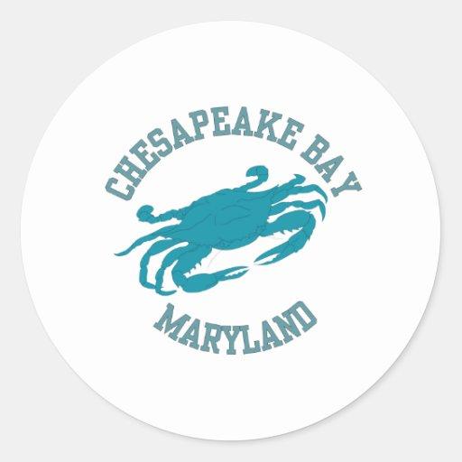Chesapeake Bay  Blue Crab Round Stickers