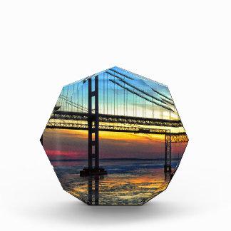 Chesapeake Bay Bridge Icy Sunset Silhouette Acrylic Award