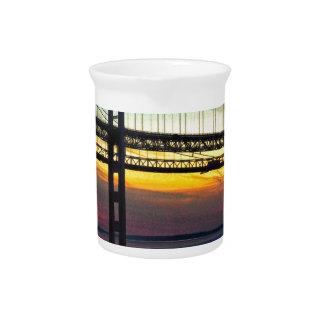 Chesapeake Bay Bridge Icy Sunset Silhouette Beverage Pitcher