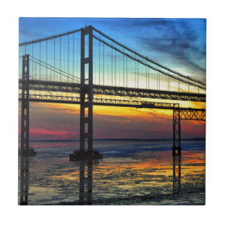Chesapeake Bay Bridge Icy Sunset Silhouette Ceramic Tile