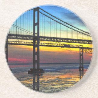 Chesapeake Bay Bridge Icy Sunset Silhouette Coaster