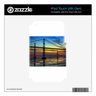 Chesapeake Bay Bridge Icy Sunset Silhouette Decals For iPod Touch 4G
