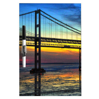 Chesapeake Bay Bridge Icy Sunset Silhouette Dry-Erase Board