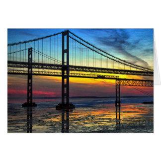 Chesapeake Bay Bridge Icy Sunset Silhouette Greeting Card