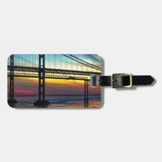 Chesapeake Bay Bridge Icy Sunset Silhouette Luggage Tag