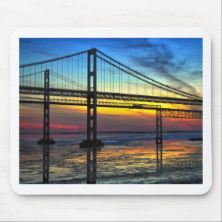 Chesapeake Bay Bridge Icy Sunset Silhouette Mouse Pad