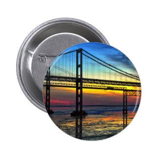 Chesapeake Bay Bridge Icy Sunset Silhouette Pinback Button