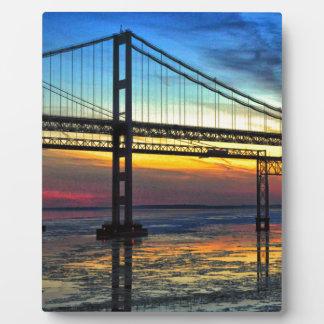 Chesapeake Bay Bridge Icy Sunset Silhouette Plaque
