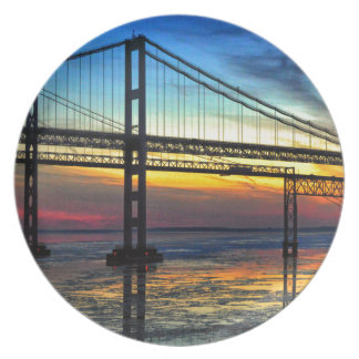 Chesapeake Bay Bridge Icy Sunset Silhouette Plate