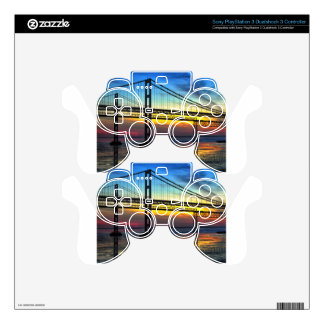 Chesapeake Bay Bridge Icy Sunset Silhouette Skin For PS3 Controller