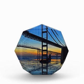 Chesapeake Bay Bridge Sunset Over Icy Waters Acrylic Award