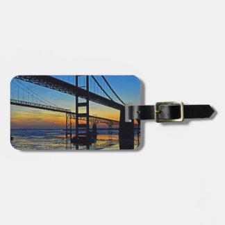 Chesapeake Bay Bridge Sunset Over Icy Waters Bag Tag