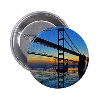 Chesapeake Bay Bridge Sunset Over Icy Waters Button